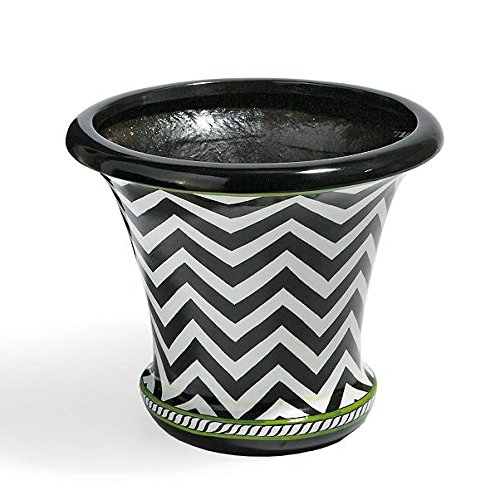 Boutique Black White Green Geometric Chevron Stripe Handpainted Round Planter Patio Pot by Outdoor Collection