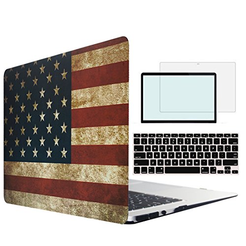 Tojia MacBook Pro 13 Case,4 in 1 US Flag Hard Shell with Keyboard Skin Screen Protector for 13 inch MacBook Pro with CD/DVD ROM Model:A1278(Non Retina)