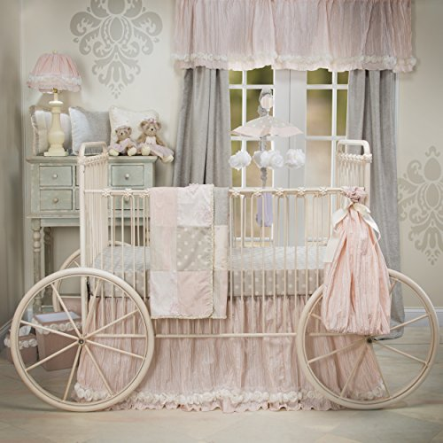 Jean Crib Glenna Cotton Skirt (Glenna Jean Contessa Quilt, Crib Skirt with Sheet Set, Pink/Cream)