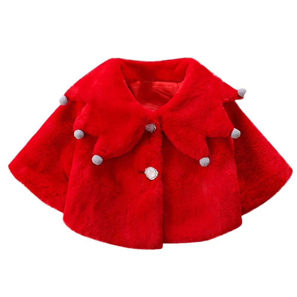 Jchen(TM) Clearance Newborn Girl Cartoon Coat,Suitable for 0-24 Months,Infant Toddler Baby Girls Cute Cartoon Winter Warm Outwear Coat Jacket (Age: 0-6 Months, Red)