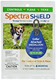 Dog Flea Treatment Collar - SPECTRA SHIELD EASY SNAP ON DOG FLEA TICK 4 MONTH CONTROL MEDALLION ATTCHES TO COLLAR ALL SIZES (Small - 14-29 lbs)