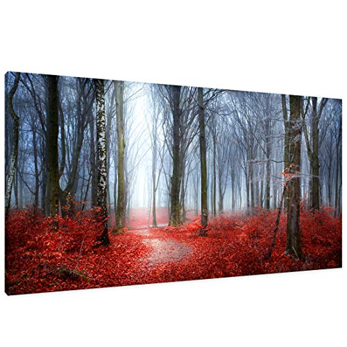 - Canvas Wall Art Fairytale Autumn Forest in Fog with Red Leaves and Trees Landscape Abstract Painting Office Wall Art Decor Single Pieces Canvas Prints Ready to Hang for Home Decoration Works of Art