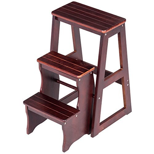 3 Tier Folding Wood Step Stool Ladder Chair Bench Seat Utility Home Kitchen by White Bear & Brown Rabbit