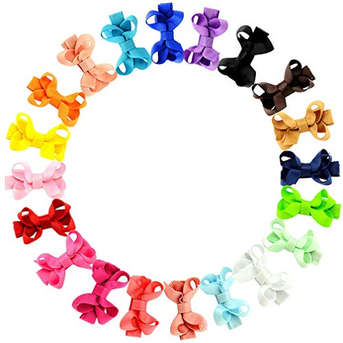 Infant Baby Bows - 20Pcs Small Baby Hair Bows Ribbon Clips for Girls Toddlers Kids