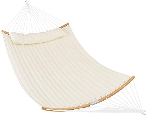 Patio Watcher 11 Feet Quilted Fabric Hammock with Curved-Bar Bamboo and Detachable Pillow, Double Hammock Perfect for Patio Yard White