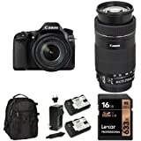 Canon EOS 80D Digital SLR Kit with EF-S 18-135mm and 55-250mm Lenses, 16GB Memory Card, Extra Battery and Bag
