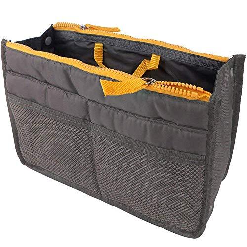 - Potelin Women's Handbag Organiser, Travel Thicken Double Zipper Organizer Wash Bag (Grey)