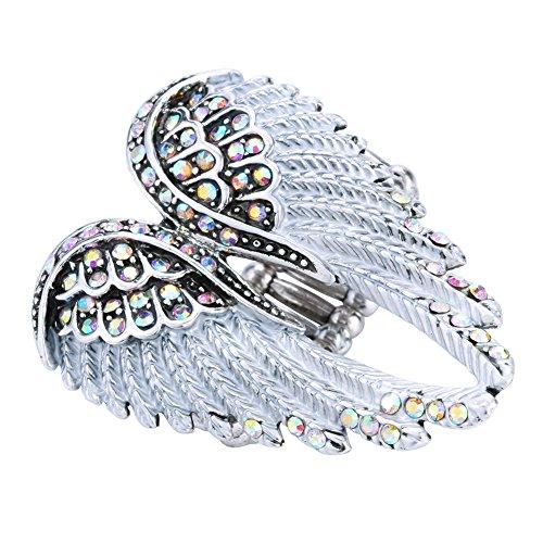 (Szxc Jewelry Women's Crystal Angel Wings Stretch Rings Biker Jewelry)