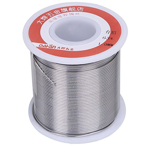 DAHAN 1 Pound Tin Lead Rosin Core Solder Wire 63/37 (Sn63 Pb37) with Flux 2% for Electrical Soldering (Diam: 0.5mm/0.02