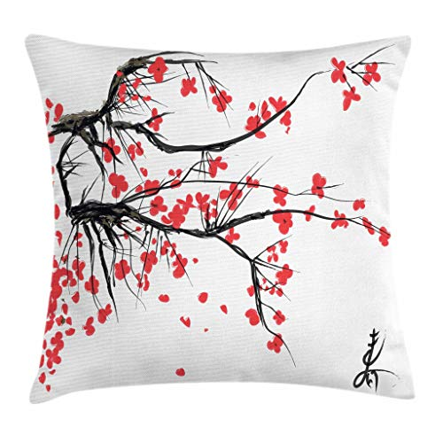 Ambesonne Nature Throw Pillow Cushion Cover, Sakura Blossom Japanese Cherry Tree Garden Summertime Vintage Cultural Print, Decorative Square Accent Pillow Case, 16