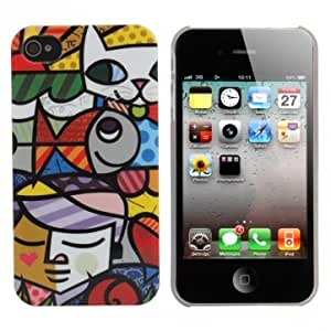 Novelty Strange Colourful Painting Plastic Hard Case For iPhone 4 4S