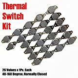 MOONLIGHT-TECH Temperature Switch Kit 26Values x 1Pc Manual Reset 40-160 Degree Normally Closed N/C KSD301 Thermal Sensor 250V/10A For Microwave Oven Toaster Repair