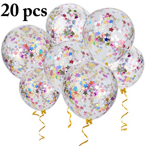 Outgeek Confetti Balloons, 20 PCS 12 Inch Large Star Confetti Balloons Transparent Balloons Latex Balloons with Star Confetti for Wedding Party Birthday Party Halloween Christmas Decorations -