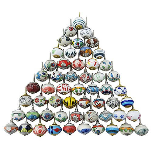 Assorted Multicolor Ceramic Drawers Knobs Door Cupboard Pulls Indian Mix Knobs - Ceramic Drawer