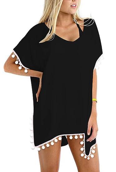 785c3c8ebe Double C Women Swimsuit Cover Up Bikini Pom Pom Trim Bathing Suit Beach  Dress at Amazon Women's Clothing store: