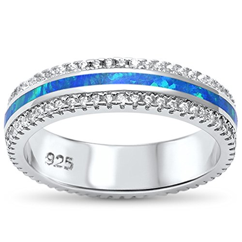 Sterling Channel Inlay - Sterling Silver Channel Set Lab Created Opal Inlay Band Ring Sizes 6-9 (9)