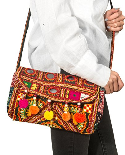 Patchwork Quilted Women Crossbody Purse Handbag Satchel Unique Embroidered Hippie Boho Sling Wallet (Tapestry Satchel Bag)