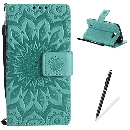 MAGQI LG K4 Wallet Case Premium Soft PU Leather Cover with Card Slots and Wrist Strap Stand Function Embossed Mandala Cover for LG K4 + Black Stylus - Green ()