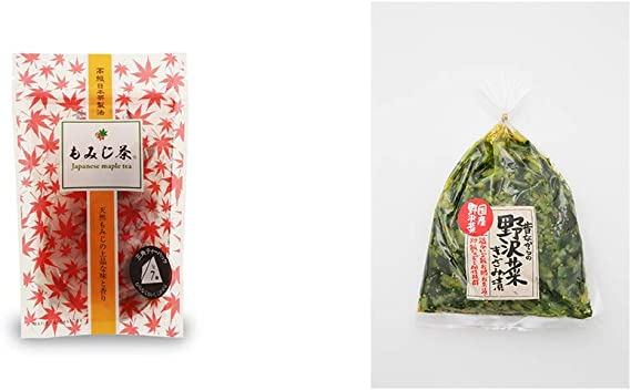 [2点セット] もみじ茶(7パック入)・国産 昔ながらの野沢菜きざみ漬け(150g)