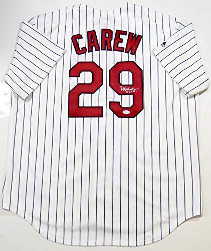 (Rod Carew Autographed P/S Majestic Minnesota Twins Jersey w/HOF 91- JSA Auth Silver)