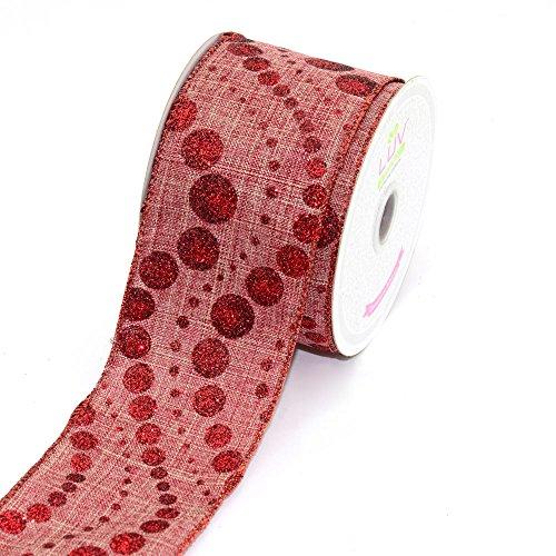 LUV RIBBONS by Creative Ideas 2-1/2-Inch Canvas Glitz Dots Ribbon, 10-Yard, Red - Luv Wrap