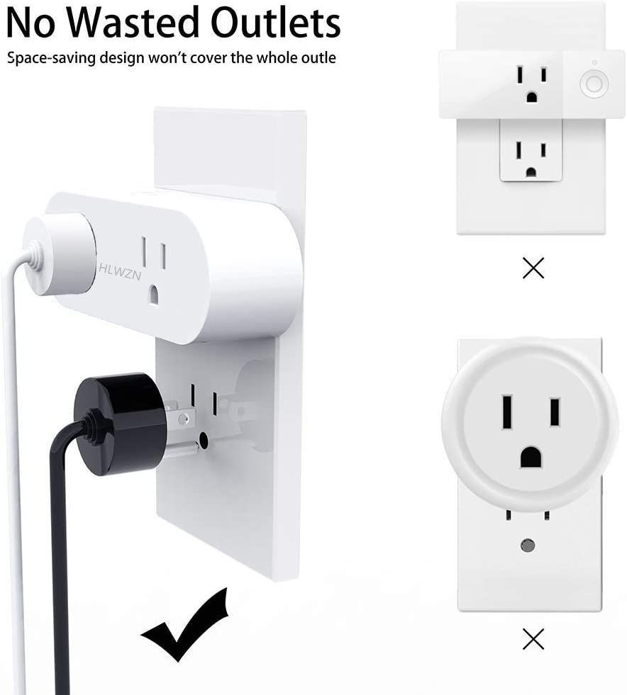 Timing Function Outlet Compatible with  Alexa Google Home IFTTT No Hub Required Control Your Electrical Devices from Anywhere WiFi Enabled Remote Cont 15A Mini Smart Plug Mini 1 Pack DRHLWZN