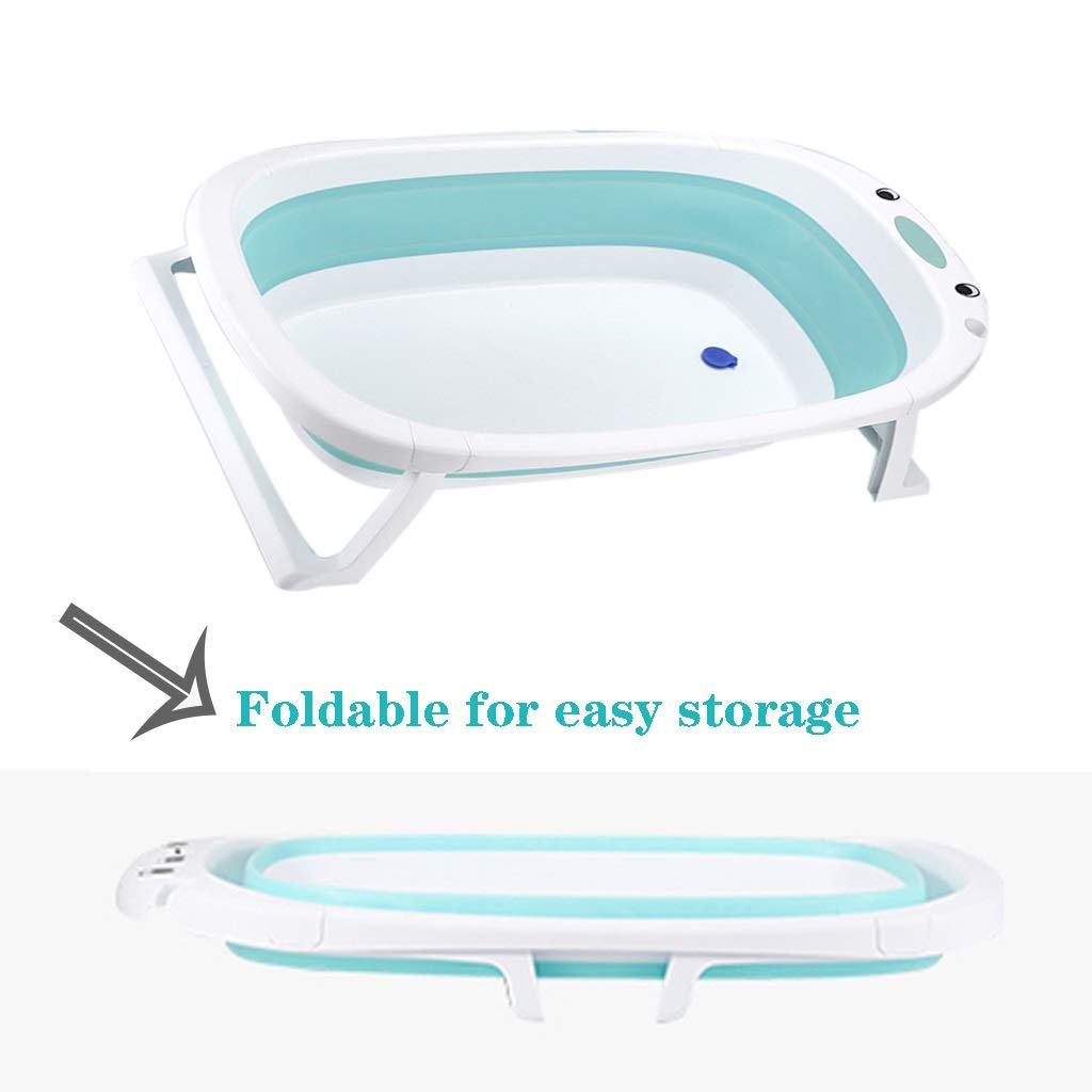 QBYLYG Collapsible Bathing Tub Non-Slip Portable Folding Bath Tub Foldable Shower Basin Bathtub Baby Shower Basin with Temperature Sensing for Infants Kids Aged (Color : Blue) by QBYLYG