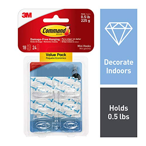 Command Mini Hooks, Indoor Use, 18 hooks, 24 strips (17006CLR-18ES)