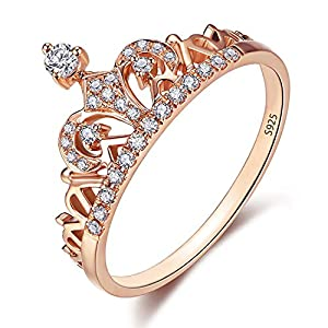 925 Sterling Silver Crown Ring Rose Gold Plated Princess Tiara Rings Fit Women Girl Wife Gift