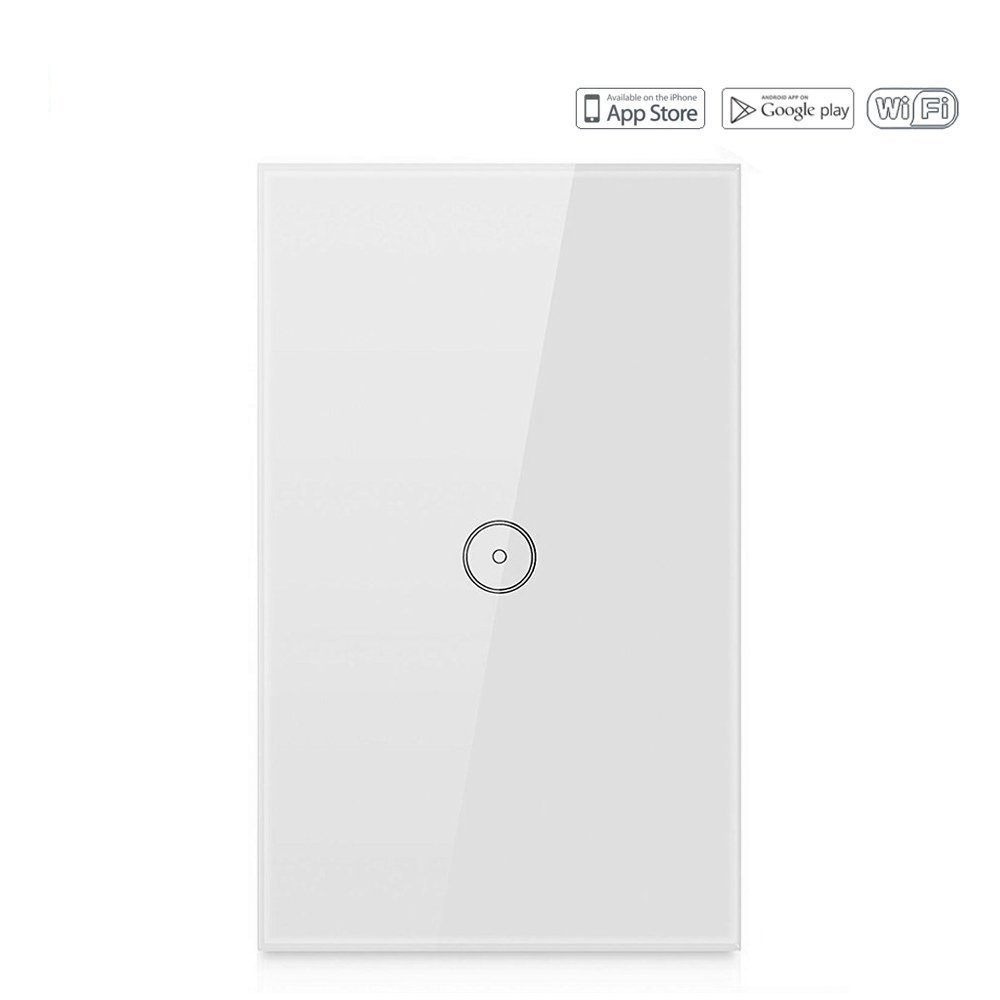 Mojocraft Wireless Smart Wall Switch 1 Gang, Touch Sensitive, Glass Finish, Neutral Wire Required, Compatible with Alexa, Google Asistant, IFTTT