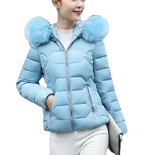 today-UK Women Lightweight Down Jacket Faux Fur Collar Hooded Puffer Winter Coat Blue