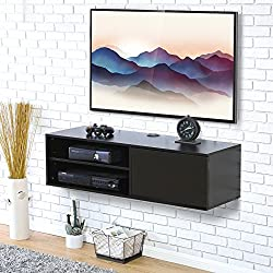 Fitueyes 2 cube Wall Mounted Audio/Video Console Storage Cabinet 1 Door Floating Console Hutch Black for xbox one/PS4/vizio/Sumsung/sony TV.DS310801WB