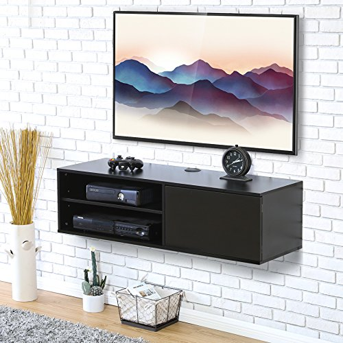 Fitueyes 2 cube Wall Mounted Audio/Video Console Storage Cabinet 1 Door Floating Console Hutch Black for xbox one/PS4/vizio/Sumsung/sony TV.DS310801WB by Fitueyes