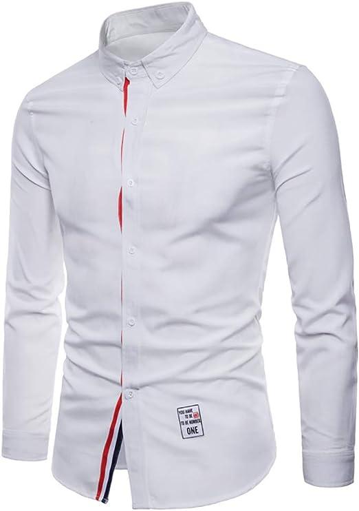 Camisa Casual Hombres, otoño Invierno Moda Blanco de Manga Larga para Hombre de la Boda Camisas de Vestir Delgado Macho Camisa Smoking (Color : Blanco, tamaño : SG): Amazon.es: Jardín