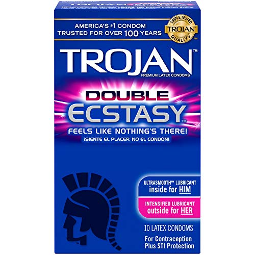 (Trojan Double Ecstasy Lubricated Condoms, 10ct)