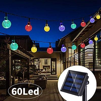 36 Ft 60Led Solar String Lights Globe Crystal Balls Waterproof LED Fairy Lights for Garden Yard Home Party Wedding Decoration Multi Color : Garden & Outdoor