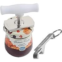 Kichwit Arthritis Jar Opener Stainless Steel Lids Off Jar Opener - Free Bottle Opener Keychain Included