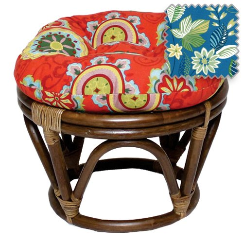 18-Inch Bali Rattan Papasan Footstool with Cushion - Print Outdoor Fabric, Skyworks Caribbean - DCG Stores Exclusive