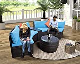 Bariho Patio Furniture Sets, 6-Piece Outdoor Half-Moon Sectional Furniture Wicker Sofa Set with Two Pillows and Coffee Table, Blue Cushions