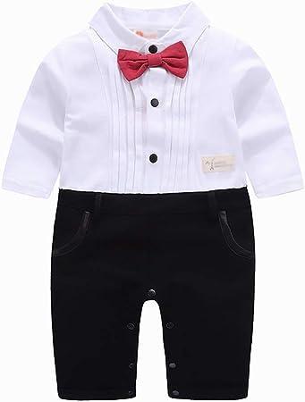 YRE Baby Boy Caballero Camisa Blanca Arco Mono, Ropa de los niños recién Nacido,White,90: Amazon.es: Hogar