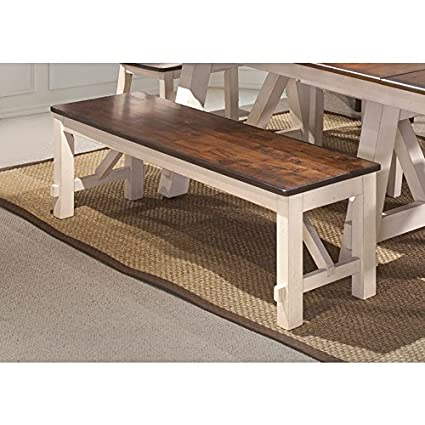 Dining Bench In White And Rustic Cherry Finish