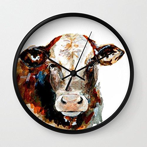 Cow Watercolor Wall Clock Black Frame, Black Hands