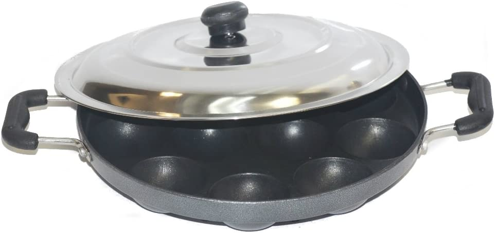 TABAKH Bright AppamPatra Paniyaram Non Stick Pan with Stainless Steel Lid