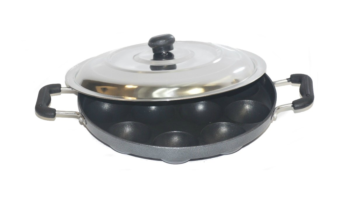 TABAKH Bright AppamPatra Paniyaram Non Stick Pan with Stainless Steel Lid Gandhi - Appliances