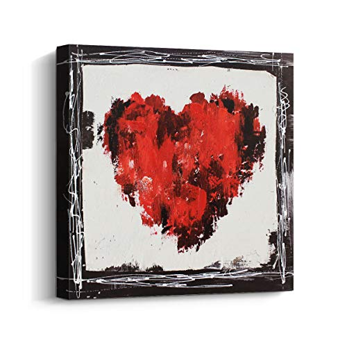Pi Art Small Framed Canvas Art Love Hearts - Modern Wall Art Abstract Painting Home Decor for Living Room Bedroom (12x12 inch, B)
