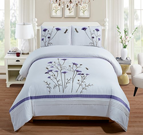 Fancy Collection 3-pc Embroidery Bedding Off White Purple Lavender Duvet Cover Set New (Queen) (Cover White Duvet And Purple)