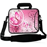 "RICHEN 9.7"" 10"" 10.1"" 10.2"" inch Messenger Bag Carring Case Sleeve with Handle Accessory Pocket Fits 7 to 10-Inch Laptops/Notebook/ebooks/Kids tablet/Pad (7-10.2 inch, Pink Butterfly)"