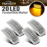 "Partsam 4pcs 6"" Amber 20LED Side Marker Sealed Auxiliary Turn Signal Light Clear Lens 12V, 6x2 Trailer Led Clearance Lights, 3Wire, Rectangular Rectangle Led Marker Lights"
