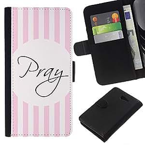 Leather Etui en cuir    Sony Xperia M2    Dios Líneas rosadas cristiana religiosa @XPTECH