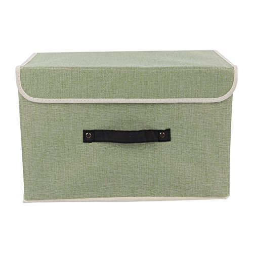 Storage Bins,Mee'life Set of Two Foldable Storage Box with Lids and Handles Storage Basket Storage Needs Containers Organizer With Built-in Cotton Fabric Closet Drawer Removable Dividers (Light Green)
